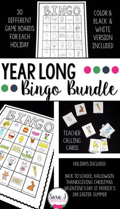 Bingo cards for the whole year! Includes 8 different sets - Back to School, Halloween, Thanksgiving, Christmas, Valentine Preschool Learning, Early Learning, Fun Learning, Learning Activities, Activities For Kids, Teaching Ideas, Valentine Bingo, Valentines, Thanksgiving Bingo