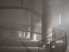 The Arsenale - floating ramp in the mist in Venice.