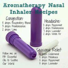 Aromotherapy Nasal Inhaler Recipes