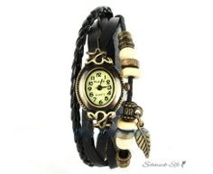 Leder Armbanduhr  VINTAGE  schwarz  im Organza Beutel
