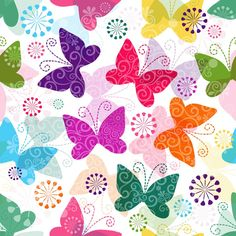 Illustration of Spring seamless pattern with colorful and transparent butterflies vector art, clipart and stock vectors. Flowery Wallpaper, Butterfly Wallpaper, Butterfly Flowers, Wallpaper Backgrounds, Flower Pattern Design, Flower Patterns, Printable Scrapbook Paper, Borders For Paper, Christmas Snowflakes