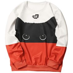 Cat Graphic Color Block Sweatshirt (€19) ❤ liked on Polyvore featuring tops, hoodies, sweatshirts, hooded pullover sweatshirt, color block hoodie, hooded pullover, graphic hoodie and color-blocked sweatshirt