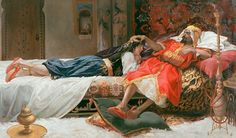 Painting Art Print by Antonio Maria Fabrés y Costa, see the Picture Sultan and lady of a harem and choose your favorite picture frame. Romantic Paintings, Classic Paintings, Old Warrior, Victorian Paintings, Exotic Art, Desert Art, Academic Art, Arabic Art, Art Case