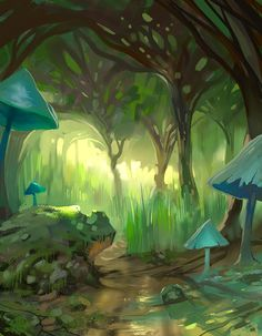 Simple fantasy forrest, with mushrooms and trees