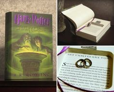 """Hollow Book Safe Ring Bearer - Harry Potter and the Half-Blood Prince """"Unbreakable Vow"""" (Magnetic Closure) Harry Potter Shop, Harry Potter Wedding, Mailing Packages, Book Safe, Engagement Party Decorations, Ribbon Bookmarks, Library Card, Half Blood, Ring Bearer"""