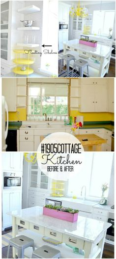 Cottage Kitchen - So many things to like about this kitchen, the floating shelves, the Farmhouse sink, the counter area in the middle with seats & shelving...