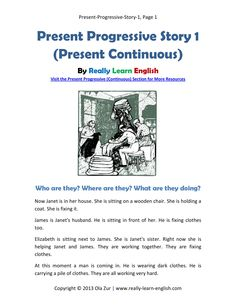 FREE Printable story and exercises to practice the Present Progressive (Continuous) Tense in English (includes answer key)