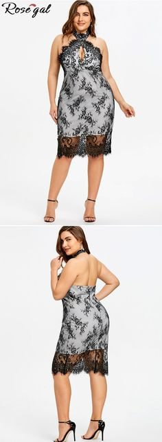 bb8cf586692 Plus Size Backless Cocktail Lace Overlay Dress