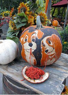 The Lady and The Tramp Halloween Pumpkin cute disney movie ideas pumpkin halloween carve lady tramp