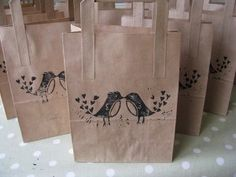 lino printed favour bags