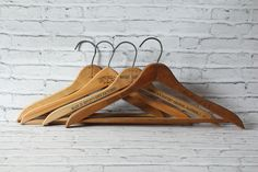 Vintage Set of 4 Hangers Natural Color Solid Wood With Metal Hook La Concha Hotel San Juan Nassau Hotel Ripley Clothes Coats Advertising by BrooklynBornFinds on Etsy