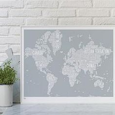 World Type Map Screen Print