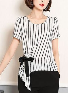 Polyester stripe round neck short sleeve Casual dress T-shirt Blouse Styles, Blouse Designs, Modest Fashion, Fashion Dresses, Blouse Dress, Pulls, Street Style Women, Dress Patterns, Casual Outfits