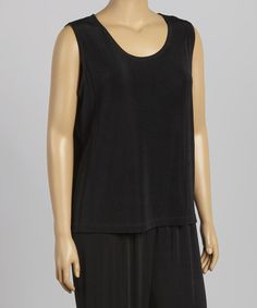 Another great find on #zulily! Black Scoop Neck Tank - Plus by Autonomy #zulilyfinds
