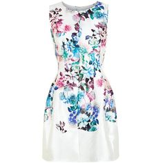 AX Paris Cream Shimmer Floral Print Skater Dress ($61) ❤ liked on Polyvore featuring dresses, skater dress, floral print skater dress, sleeveless skater dress, floral fit and flare dress and floral skater dress