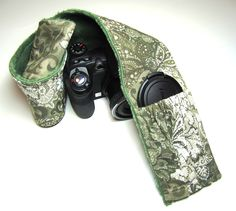 Elastic Pocket Camera Strap Cover in Sage with Matching Minky. $18.99, via Etsy by Pickleberrylane.