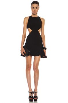 Cushnie et Ochs|Flared Viscose-Blend Dress with Side Cutouts in Black~ my new fave girl! San Fran!