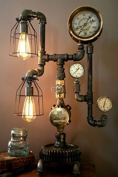 Lamp made with pipes, gauges, and industrial lights;upcycle, recycle, salvage, diy, repurpose!  For ideas and goods shop at Estate ReSale & ReDesign, Bonita Springs, FL by Steen S