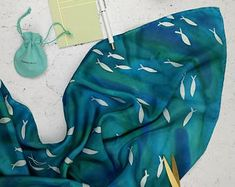 Turquoise blue watercolour silk scarf with fish pattern. Made to Order. Ocean sea theme. Square headscarf or hijab. One-of-a-kind silk scarf