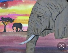 MaryMaking: African Elephants with Watercolor Sunsets Could do watercolor sunset and an elephant train silhouette African Art Projects, Animal Art Projects, Elephant Art, African Elephant, 6th Grade Art, Jr Art, Watercolor Sunset, Ecole Art, Africa Art