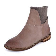 33b7d1deba32 3 Colors WomenS Handmade Leather Ankle Boot Low Heel Comfortable Walking  Dress Boots US 8 CN