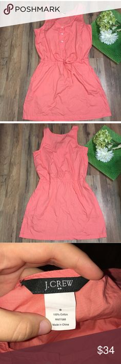 J.Crew cinch tie waist coral dress with pockets Length: 34.5"