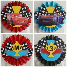 Disney Cars Centerpiece, Disney Cars Ros … - Top Of The World Lightning Mcqueen, Disney Cars Birthday, Cars Birthday Parties, Piñata Cars, Disney Cars Characters, Car Centerpieces, Disney Invitations, Cars Invitation, Disney Cupcakes
