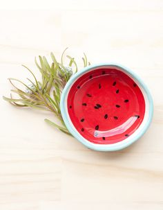 Watermelon ring bowl. Porcelain handmade homewares by thingsbybea