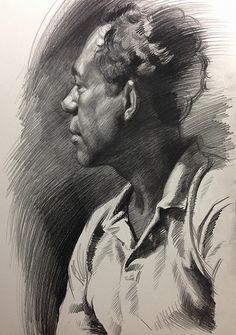 Stephen Cefalo (German-American, b. 1976), African-American black male portrait profile, figure drawing, graphite on toned paper. stephencefalo.com