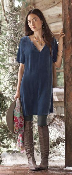 Romy Shift Dress - velvet V-neck shift dress.