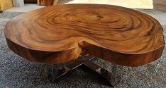 Wood Slab Dining Table, Solid Wood Table, Wood Tables, Dining Tables, Reclaimed Wood Furniture, Rustic Furniture, Furniture Design, Tropical Furniture, Live Edge Table