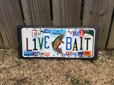 LIVE BAIT sign made from recycled license plates lake house vacation home florida california hawaii