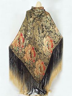 Pining for... Deco metallic brocade shawl with hand- knotted ombré silk fringe, c.1920.