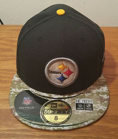 3fb5dd739f6 New Era 59Fifty Pittsburgh Steelers Salute Service Camo Hat Cap Size 8  Football