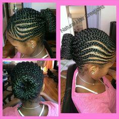Cornrows bun braids natural hair