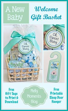 DIY new baby gift basket ideas! Perfect present for a baby shower, too! Know a mom who is expecting? Check out how to create your own and get the free printable tags and door hanger! (Melly Moments Blog).