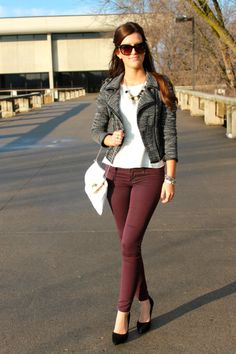 Something timeless (tweed jacket), something trendy (colored skinny jeans)