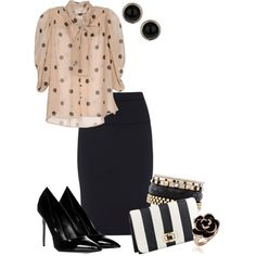 sophisticated in spots and stripes by meganpearl on Polyvore featuring moda, MINAUK, Givenchy, Sergio Rossi, Accessorize, Iosselliani, Dorothy Perkins, stripes, pointed-toe pumps and black and white