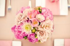 spring bouquet of peonies, roses, tulips, and daliah