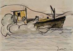 $30,000.00 Oil Boat : Watercolor : Arthur Dove...An original to own