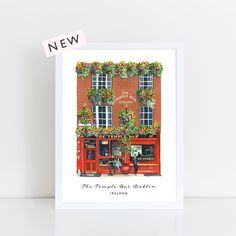 The Temple Bar Pub, Dublin archival print from an original gouache illustration by Helen Magee in her studio in Delgany, Co. Temple Bar, Dublin City, Dublin Ireland, Pigment Ink, Beautiful Islands, Watercolor Paper, Childhood Memories, Vibrant Colors, Irish
