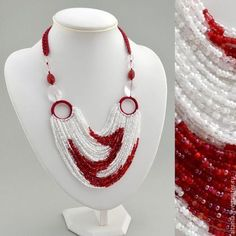 Petunias - the central part of the necklace consists of 50 two-colored beaded strands red curls on a white field. Beaded strands are fixed on circular connectors, tied with cotton thread. Diy Jewelry Necklace, Red Jewelry, Seed Bead Necklace, Seed Bead Jewelry, Bead Jewellery, Fabric Jewelry, Necklace Designs, Jewelry Crafts, Handmade Jewelry
