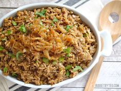 Mujaddara: an earthy rice and lentil pilaf with aromatic spices and caramelized onions - BudgetBytes.com #vegan #vegetarian