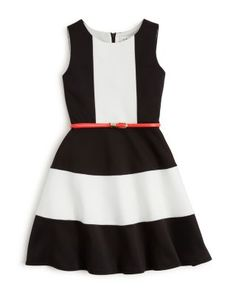US Angels Girls' Belted Color Block Dress - Sizes 7-16 | Bloomingdale's