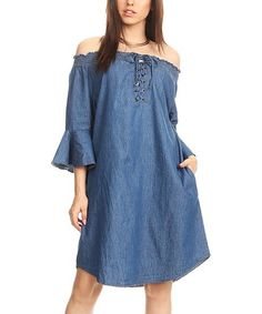 Look at this #zulilyfind! Denim Lace-Up Off-Shoulder Shift Dress - Women #zulilyfinds