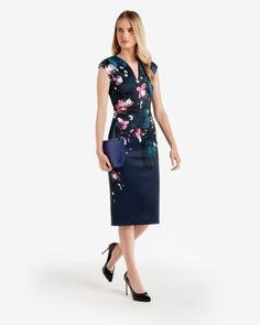 Fuchsia Floral midi dress - Dark Blue | Dresses | Ted Baker