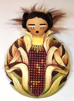 Gourd Art Wall Hanging Corn Maiden by Phyllis Sickles