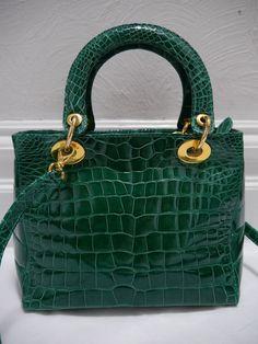 GIORGIO'S OF PALM BEACH $5,000+ emerald green genuine alligator handbag #GiorgiosofPalmBeach #SatchelandShoulderbagstyle