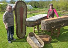 Basket-maker, artist, and sculptor, Paul Finch, with Beth Murphy, display some of the Caskets crafted at Willow Wonder, Redhills, Kildare. h...