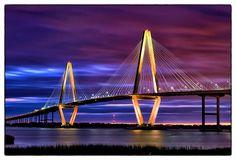 Ravenel Bridge at Sunset, Charleston, SC 30 seconds | Bridges ...